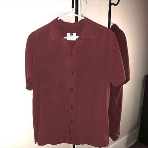 Men's Topman Medium Maroon ButtonUp Shirt